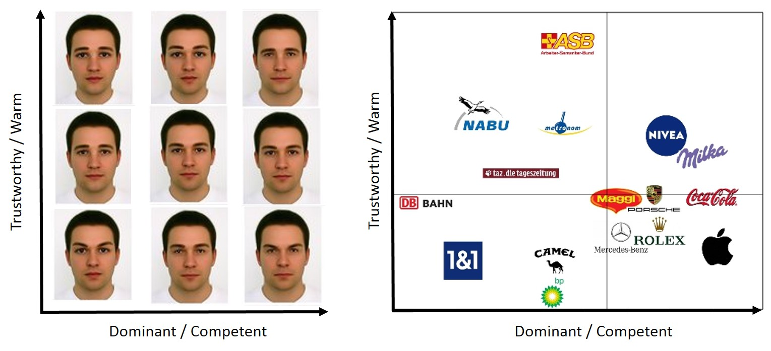 Humans evaluate dynamic faces and static logos using the same warmth and competence criteria